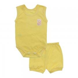 Imagem - Kit Body Bebê Regata e Short Feminino Lapuko - 10213-kit-regata-short-amarelo