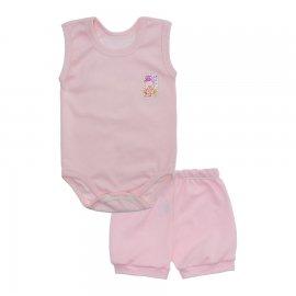 Imagem - Kit Body Bebê Regata e Short Feminino Lapuko - 10213-kit-regata-short-rosa-bebe