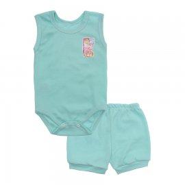 Imagem - Kit Body Bebê Regata e Short Feminino Lapuko - 10213-kit-regata-short-verde-bebe