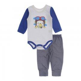 Imagem - Kit de Body e Calça de Bebê Lapuko - 10283-kit-body-calca-aviador-royal