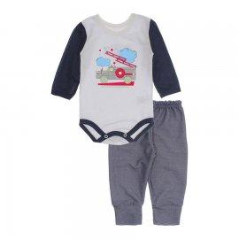 Imagem - Kit de Body e Calça de Bebê Lapuko - 10283-body-calca-bombeiro-marinho
