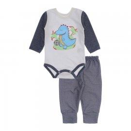 Imagem - Kit de Body e Calça de Bebê Lapuko - 10283-body-calca-dino-azul-mescla