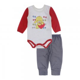 Imagem - Kit de Body e Calça de Bebê Lapuko - 10283-kit-body-calca-dog-vermelho