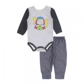 Imagem - Kit de Body e Calça de Bebê Lapuko - 10283-kit-body-calca-explorador-gra