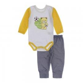 Imagem - Kit de Body e Calça de Bebê Lapuko - 10283-kit-body-calca-futebol-amarel