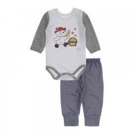 Imagem - Kit de Body e Calça de Bebê Lapuko - 10283-kit-body-calca-pirata-mescla