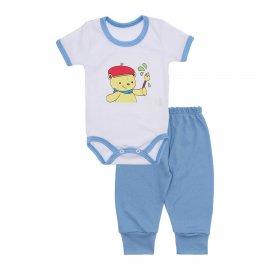 Imagem - Kit de Body Manga Curta e Calça Lapuko - 10222-kit-body-mc-calca-azul-bebe