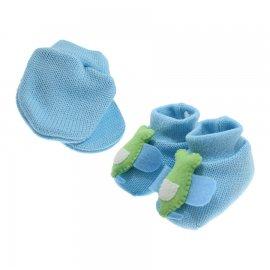 Imagem - Kit de Luva e Pantufa para Bebê - 5167-pantufa-luva-azulbb-avião
