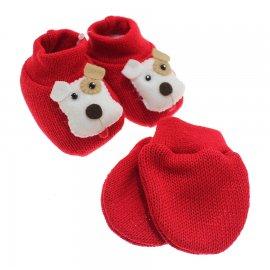 Imagem - Kit de Luva e Pantufa para Bebê - 5167-pantufa-luva-dog-vermelho