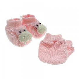 Imagem - Kit de Luva e Pantufa para Bebê - 5167-pantufa-luva-hipopotamo-rosa