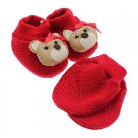 Imagem - Kit de Luva e Pantufa para Bebê - 5167-pantufa-luva-vermelho-ursinha