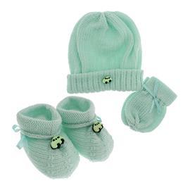 Kit em Lã de Pantufa, Luva e Touca de Bebê Menino