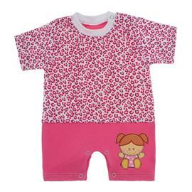 Imagem - Macacão de Bebê Menina Estampado - 9981-macacao-curto-oncinha-pink-bor