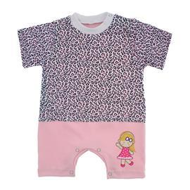 Imagem - Macacão de Bebê Menina Estampado - 9981-macacao-curto-estampado-rosa