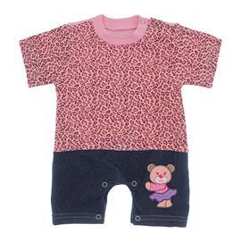 Imagem - Macacão de Bebê Menina Estampado - 9981-mac-curto-oncinha-rosa-ursinha