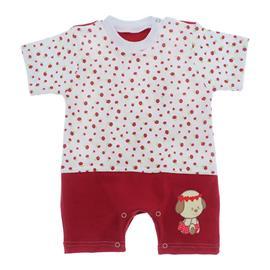 Imagem - Macacão de Bebê Menina Estampado - 9981-macacao-curto-vermelho-flor-bo