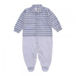 Imagem - Macacão Bebê Listrado Lapuko - 10257-macacao-listrado-cinza-claro