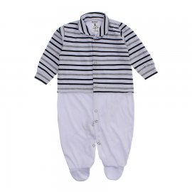 Imagem - Macacão Bebê Listrado Lapuko - 10257-macacao-listrado-preto-branco