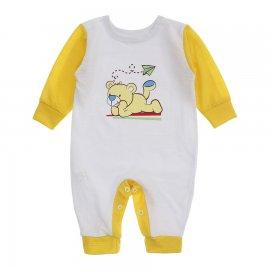 Imagem - Macacão de Bebê em Piquet Estampado Lapuko  - 10282-macacao-piquet-bco-amarelo