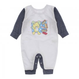Imagem - Macacão de Bebê em Piquet Estampado Lapuko  - 10282-macacao-piquet-bco-azul-mescl