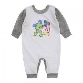 Imagem - Macacão de Bebê em Piquet Estampado Lapuko  - 10282-macacao-piquet-bco-cinza