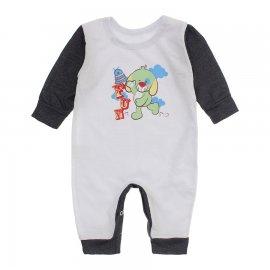 Imagem - Macacão de Bebê em Piquet Estampado Lapuko  - 10282-macacao-piquet-bco-grafite