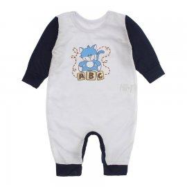 Imagem - Macacão de Bebê em Piquet Estampado Lapuko  - 10282-macacao-piquet-bco-marinho