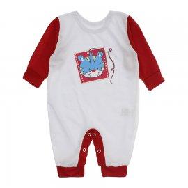 Imagem - Macacão de Bebê em Piquet Estampado Lapuko  - 10282-mcacao-piquet-bco-vermelho