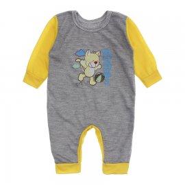 Imagem - Macacão de Bebê em Piquet Estampado Lapuko  - 10282-macacao-piquet-cinza-amarelo