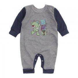 Imagem - Macacão de Bebê em Piquet Estampado Lapuko  - 10282-macacao-piquet-cinza-azul-mes