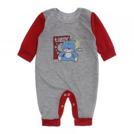 Imagem - Macacão de Bebê em Piquet Estampado Lapuko  - 10282-macacao-piquet-cinza-vermelho