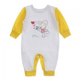 Imagem - Macacão de Bebê em Piquet Estampado Lapuko  - 10282-macacao-menina-bco-amarelo