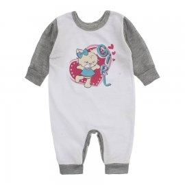 Imagem - Macacão de Bebê em Malha Estampado Lapuko  - 10282-macacao-menina-bco-cinza