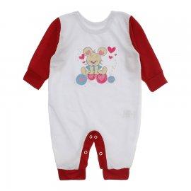 Imagem - Macacão de Bebê em Malha Estampado Lapuko  - 10282-macacao-menina-bco-vermelho