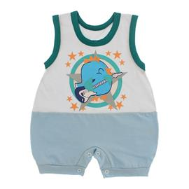Imagem - Macacão Bebê Regata Lapuko - 10070-macacão-regata-azul-branco