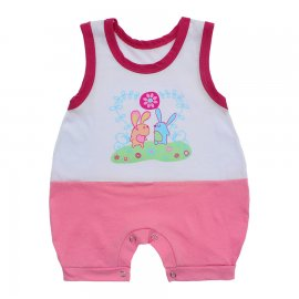 Imagem - Macacão Bebê Regata Lapuko - 10071-macacão-regata-coelhos-rosa