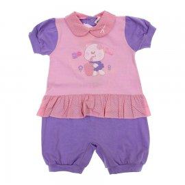 Imagem - Macacão de Bebê Curto Pi-A-MINI - 6044 - Rosa Poá