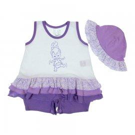 Imagem - Macacão Curto de Bebê Pedrita - 6485-lilas