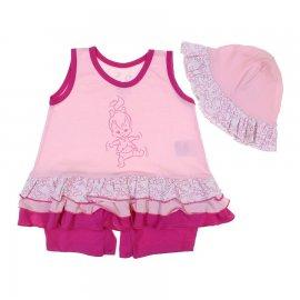 Imagem - Macacão Curto de Bebê Pedrita - 6485-rosa