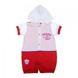 Imagem - Macacão Curto de Bebê Com Capuz Baby Gijo 6123 - 6123-Vermelho