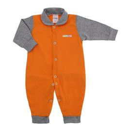 Imagem - Macacão de Bebê em Malha Lapuko  - 10014-macacao-lapuko-laranja-cinza