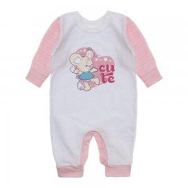 Imagem - Macacão de Bebê em Malha Estampado Lapuko  - 10282-macacao-menina-bco-rosa