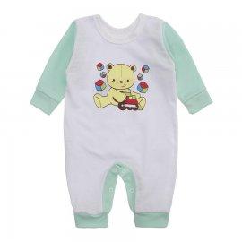 Imagem - Macacão de Bebê em Malha Estampado Lapuko  - 10282-macacao-piquet-bco-verde