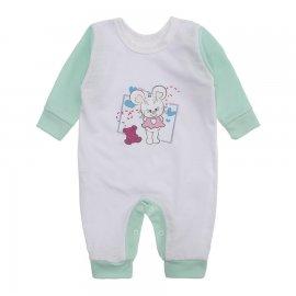 Imagem - Macacão de Bebê em Malha Estampado Lapuko  - 10282-maacao-menina-bco-verde
