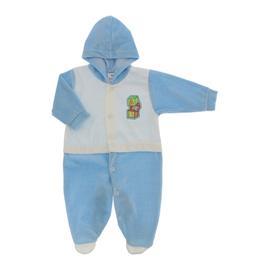 Imagem - Macacão de Plush Com Capuz para Menino - 10064-mac-plush-capuz-azul-bebe