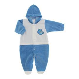 Imagem - Macacão de Plush Com Capuz para Menino - 10064-mac-plush-capuz-azul-medio