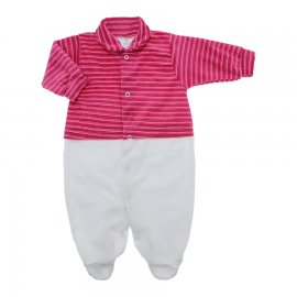 Imagem - Macacão de Plush para Menina Lapuko - 10113-macacao-plush-pink-listrado