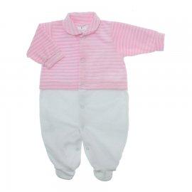 Imagem - Macacão de Plush para Menina Lapuko - 10113-macacao-plush-listrado-rosa