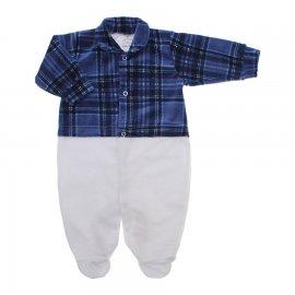 Imagem - Macacão de Plush para Menino Lapuko - 10113-macacao-plush-xadrez-azul