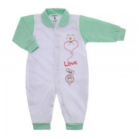 Imagem - Macacão em Malha para Menina Lapuko - 10117-macacao-menina-bco-verde-bebe